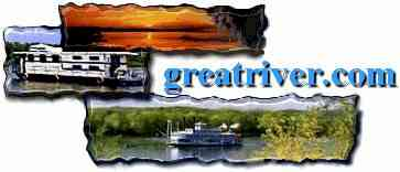 Click logo to return to www.greatriver.com  ...Steamboats, houseboats and fantastic sunsets offer only a peek at life along the Mississippi River valley! Small boat cruising is king along the river. Small boats include paddlewheelers, houseboats, and day cruising. There are few overnight cruises available, but several of the small cruising boats offer overnights in hotels along the river. Check out the JBS, the Twilight, and Celebration Cruise Lines.